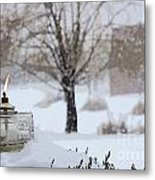 The Candle In The Snow Metal Print
