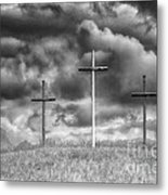 Three Crosses On Hill Metal Print
