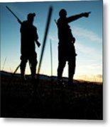 Two Hunters Track Geese In Nevada Metal Print