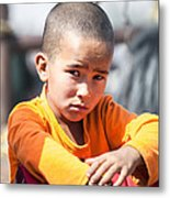 Uighur Child At Kashgar Market Xinjiang China Metal Print