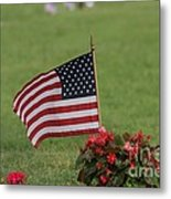 Us Flag On Memorial Day Metal Print by Robert D  Brozek