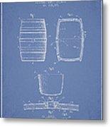 Vintage Beer Keg Patent Drawing From 1898 - Light Blue Metal Print
