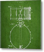 Snare Drum Patent Drawing From 1939 - Green Metal Print