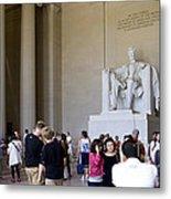 Visitors At The Lincoln Memorial Metal Print