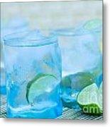 Water In Blue Metal Print