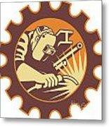 Welder Worker Welding Torch Retro Metal Print