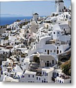 Windmills And White Houses In Oia Metal Print