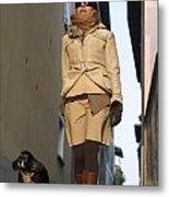 Woman Walking With Her Dog Metal Print
