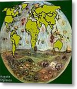 World Map And Earth Metal Print