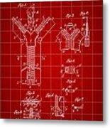 Zipper Patent 1914 - Red Metal Print