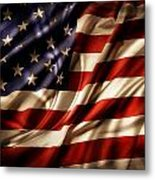 American Flag Rippled Metal Print
