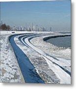 31st Beach Shoreline In Winter Metal Print
