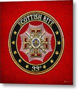 33rd Degree - Inspector General Jewel On Red Leather Metal Print