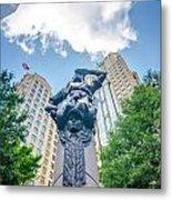 Skyline And City Streets Of Charlotte North Carolina Usa Metal Print