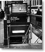 34th Street Entrance To Penn Station Subway New York City Metal Print by Joe Fox