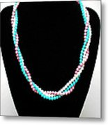 3584 Three Strand Twisted Shell Necklace Metal Print