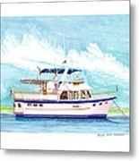 37 Foot Marine Trader 37 Trawler Yacht At Anchor Metal Print by Jack Pumphrey