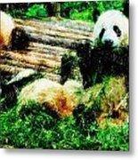 3722-panda -  Pastel Pencils Metal Print