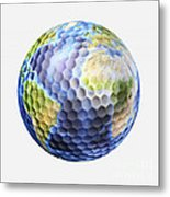 3d Rendering Of A Planet Earth Golf Metal Print