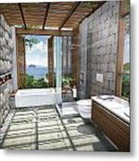 3d Tropical Bathroom Metal Print by Thanes