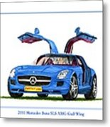 2010 Mercedes Benz S L S Gull-wing Metal Print