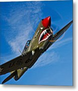 A Curtiss P-40e Warhawk In Flight Metal Print