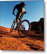 A Middle Age Man Rides His Mountain Metal Print
