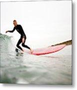 A Surfer Enjoys The Waves In Carlsbad Metal Print