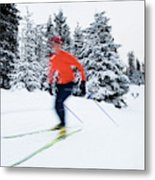 A Young Woman Cross-country Skiing Metal Print