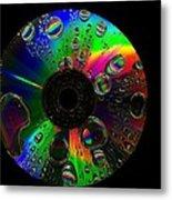 Abstract Rainbow Droplets On Cd Metal Print