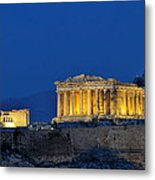 Acropolis Of Athens During Dusk Time Metal Print