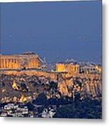 Acropolis Of Athens During Sunrise Metal Print