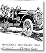 Automobile Cartoon, 1914 Metal Print