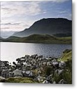 Beautiful Sunrise Mountain Landscape Reflected In Calm Lake Metal Print