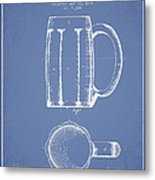 Beer Mug Patent From 1876 - Light Blue Metal Print