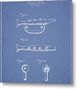 Bugle Call Instrument Patent Drawing From 1939 - Light Blue Metal Print