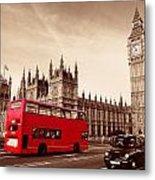 Bus In London Metal Print