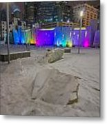 Charlotte Queen City Skyline Near Romare Bearden Park In Winter Snow Metal Print