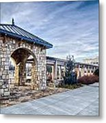 Cultured Stone Terrace Trellis Details Near Park In A City  Metal Print