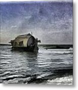 Digital Oil Painting - A Houseboat Moving Placidly Through A Coastal Lagoon In Alleppey Metal Print