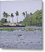 Digital Oil Painting - A Houseboat On Its Quiet Sojourn Through The Backwaters Metal Print