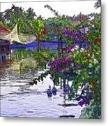 Ducks And Flowers In Lagoon Water Metal Print