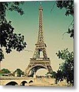 Eiffel Tower And Bridge On Seine River In Paris Metal Print