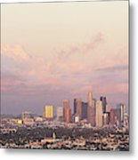 Elevated View Of City At Dusk, Downtown Metal Print