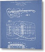 Fender Floating Tremolo Patent Drawing From 1961 - Light Blue Metal Print