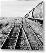 freight grain trucks on former canadian pacific railway now great sandhills railway through leader S Metal Print