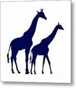 Giraffe In Navy And White Metal Print