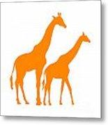 Giraffe In Orange And White Metal Print