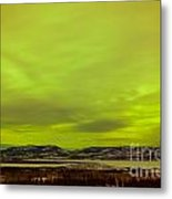 Green Glow Of Northern Lights Or Aurora Borealis Metal Print