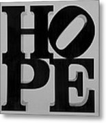 Hope In Black And White Metal Print